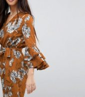 photo Floral Print Dress with Tie Waist Belt and Ruffle Sleeves by Parisian Petite, color Mustard - Image 3