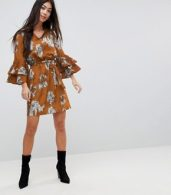photo Floral Print Dress with Tie Waist Belt and Ruffle Sleeves by Parisian Petite, color Mustard - Image 4