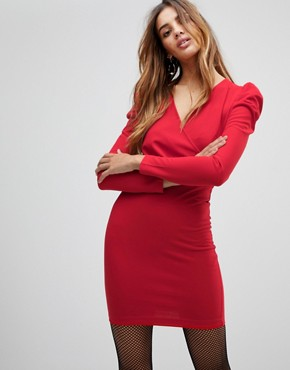 photo Wrap Front Dress with Volume Sleeve by Parisian, color Red - Image 1