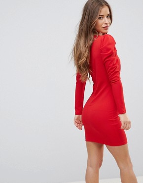 photo Wrap Front Dress with Volume Sleeve by Parisian Petite, color Red - Image 2