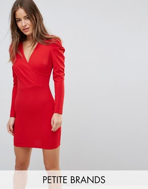 photo Wrap Front Dress with Volume Sleeve by Parisian Petite, color Red - Image 1