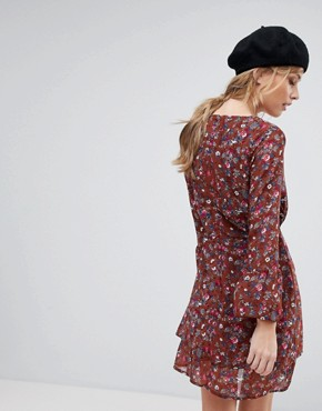 photo Floral Wrap Dress by Parisian, color Rust - Image 2