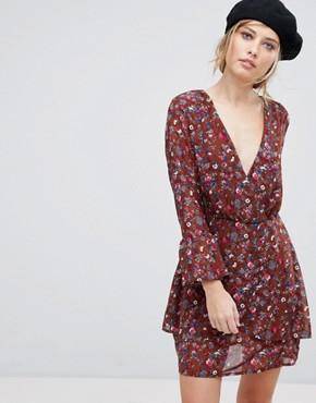 photo Floral Wrap Dress by Parisian, color Rust - Image 1