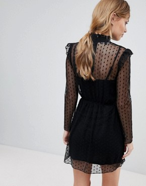 photo High Neck Mesh Skater Dress by Parisian, color Black - Image 2