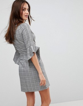 photo Check Wrap Front Dress with Flare Sleeve by Parisian, color Grey - Image 2