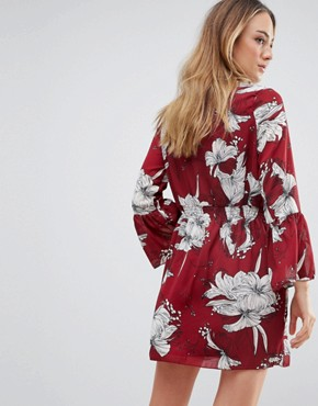 photo High Neck Floral Printed Dress by Parisian Tall, color Red - Image 2