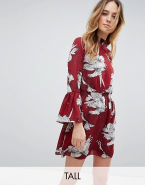 photo High Neck Floral Printed Dress by Parisian Tall, color Red - Image 1