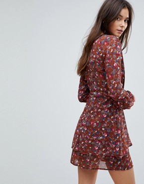 photo Floral Wrap Dress by Parisian Tall, color Rust - Image 2