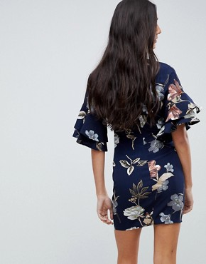 photo V-Neck Floral Shift Dress with Flare Sleeve by Parisian Tall, color Navy - Image 2