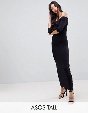 photo Off Shoulder Maxi Dress with Popper Detail by ASOS TALL, color Black - Image 1