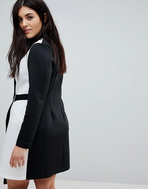 photo Colourblock Blazer Dress with Belt by ASOS CURVE, color Multi - Image 2