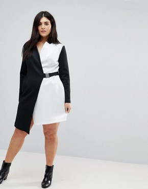 photo Colourblock Blazer Dress with Belt by ASOS CURVE, color Multi - Image 4