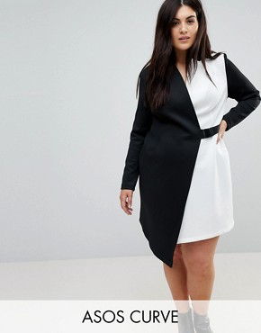 photo Colourblock Blazer Dress with Belt by ASOS CURVE, color Multi - Image 1