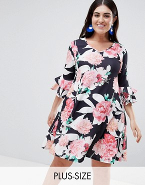 photo Floral Swing Dress with Bell Sleeve by Lovedrobe, color Multi - Image 1
