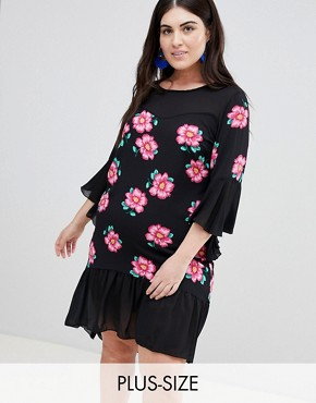 photo Floral Print Contrasting Crepe Swing Dress by Lovedrobe, color Multi - Image 1