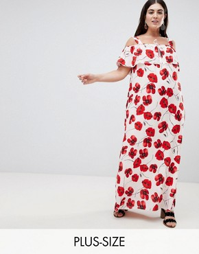 photo Poppy Print Cold Shoulder Maxi Dress by Lovedrobe, color Multi - Image 1
