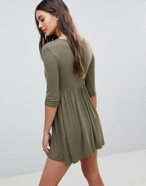 photo Smock T-Shirt Dress by Lasula, color Khaki - Image 2