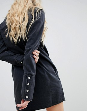 photo Denim Shirt Dress with Deep Cuff in Washed Black by ASOS DESIGN, color Washed Black - Image 2