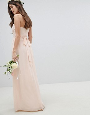 photo Bandeau Maxi Bridesmaid Dress by TFNC, color Nude - Image 2