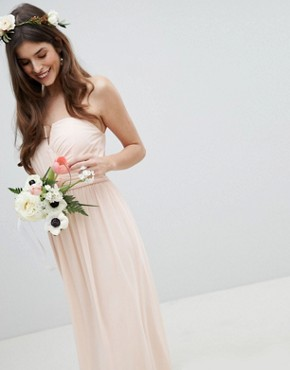 photo Bandeau Maxi Bridesmaid Dress by TFNC, color Nude - Image 4