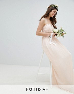 photo Bandeau Maxi Bridesmaid Dress by TFNC, color Nude - Image 1