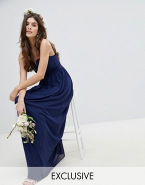 photo Bandeau Maxi Bridesmaid Dress by TFNC, color Navy - Image 1