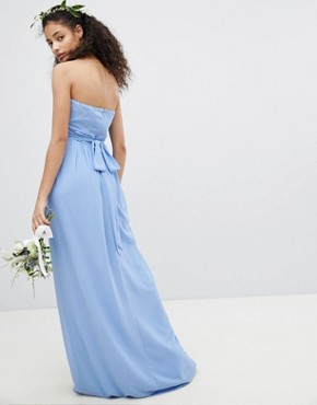 photo Bandeau Maxi Bridesmaid Dress by TFNC, color Bluebell - Image 2