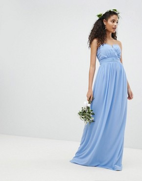 photo Bandeau Maxi Bridesmaid Dress by TFNC, color Bluebell - Image 1