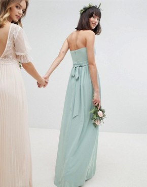 photo Bandeau Maxi Bridesmaid Dress by TFNC, color Green Lily - Image 2
