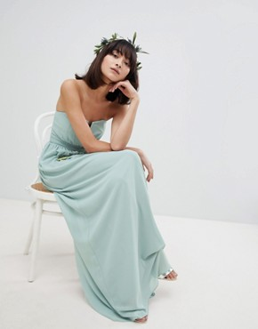 photo Bandeau Maxi Bridesmaid Dress by TFNC, color Green Lily - Image 4