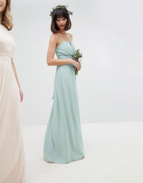 photo Bandeau Maxi Bridesmaid Dress by TFNC, color Green Lily - Image 1