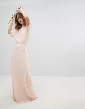 photo High Neck Maxi Bridesmaid Dress with Fishtail by TFNC, color Nude - Image 2