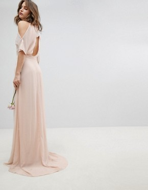 photo High Neck Maxi Bridesmaid Dress with Fishtail by TFNC, color Nude - Image 1
