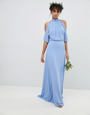 photo High Neck Maxi Bridesmaid Dress with Fishtail by TFNC, color Bluebell - Image 2