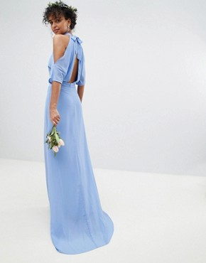 photo High Neck Maxi Bridesmaid Dress with Fishtail by TFNC, color Bluebell - Image 1