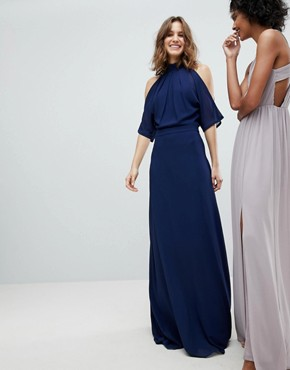 photo High Neck Maxi Bridesmaid Dress with Fishtail by TFNC, color Navy - Image 2