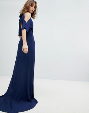 photo High Neck Maxi Bridesmaid Dress with Fishtail by TFNC, color Navy - Image 1