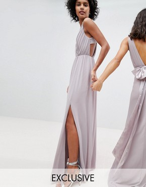 photo Pleated Maxi Bridesmaid Dress with Back Detail by TFNC, color Grey - Image 1