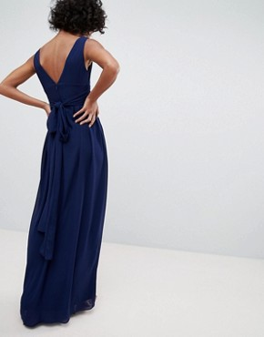 photo Wrap Front Maxi Bridesmaid Dress with Tie Back by TFNC, color Navy - Image 2