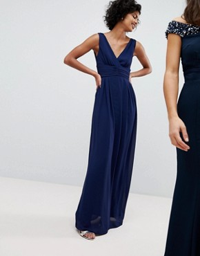 photo Wrap Front Maxi Bridesmaid Dress with Tie Back by TFNC, color Navy - Image 1