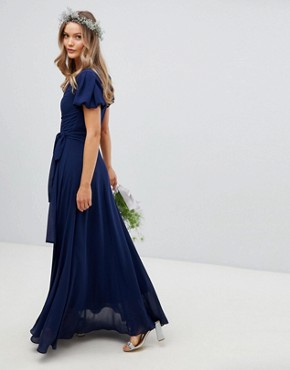 photo Wrap Maxi Bridesmaid Dress with Tie Detail and Puff Sleeves by TFNC, color Navy - Image 2