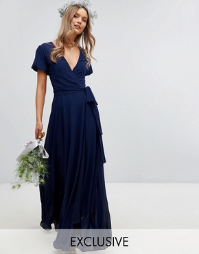 photo Wrap Maxi Bridesmaid Dress with Tie Detail and Puff Sleeves by TFNC, color Navy - Image 1