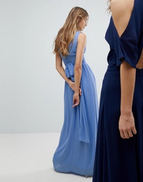 photo Wrap Front Maxi Bridesmaid Dress with Tie Back by TFNC, color Bluebell - Image 2