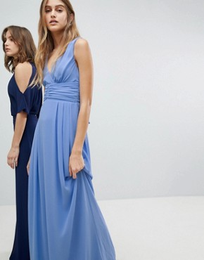 photo Wrap Front Maxi Bridesmaid Dress with Tie Back by TFNC, color Bluebell - Image 1