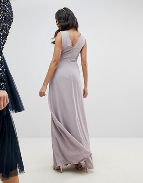 photo Sleeveless Maxi Bridesmaid Dress with Pleated Skirt by TFNC, color Grey - Image 2