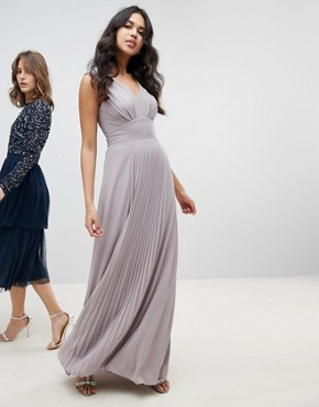 photo Sleeveless Maxi Bridesmaid Dress with Pleated Skirt by TFNC, color Grey - Image 1
