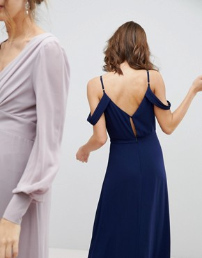 photo Cold Shoulder Wrap Maxi Bridesmaid Dress with Fishtail by TFNC, color Navy - Image 2
