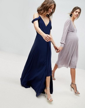 photo Cold Shoulder Wrap Maxi Bridesmaid Dress with Fishtail by TFNC, color Navy - Image 1