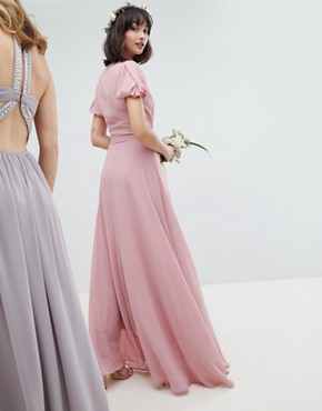 photo Wrap Maxi Bridesmaid Dress with Tie Detail and Puff Sleeves by TFNC, color Vintage Rose - Image 2