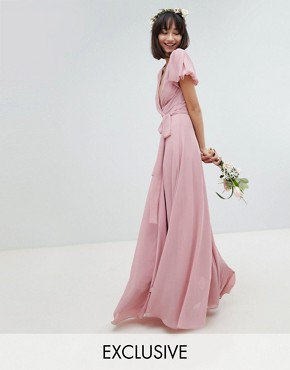 photo Wrap Maxi Bridesmaid Dress with Tie Detail and Puff Sleeves by TFNC, color Vintage Rose - Image 1